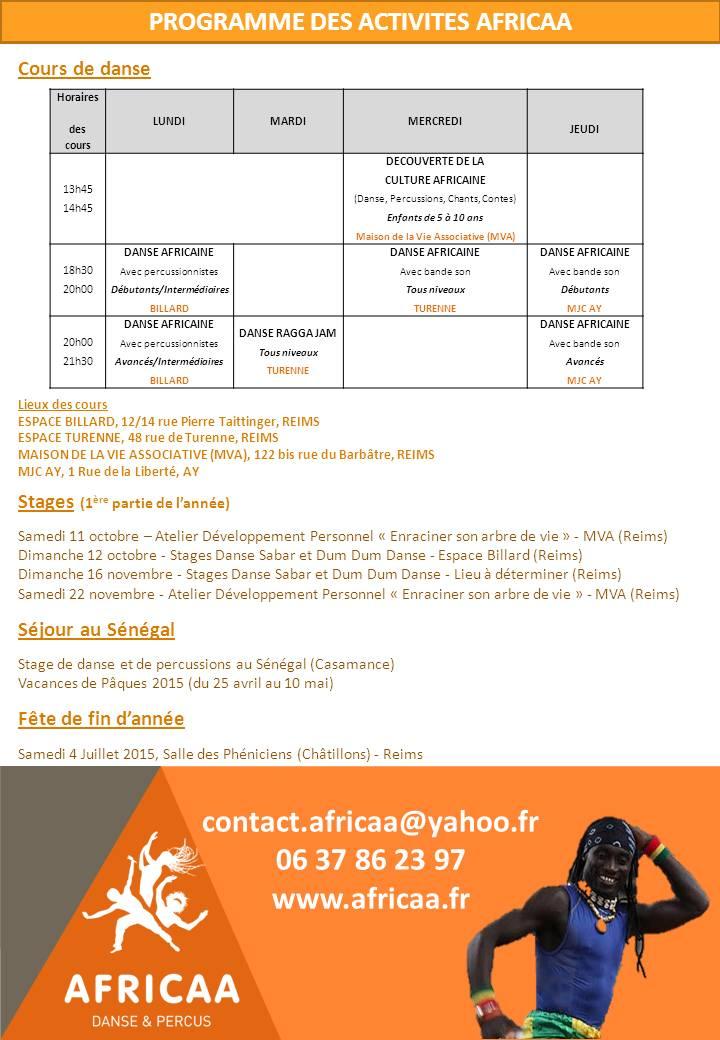 Programme des Activités AFRICAA