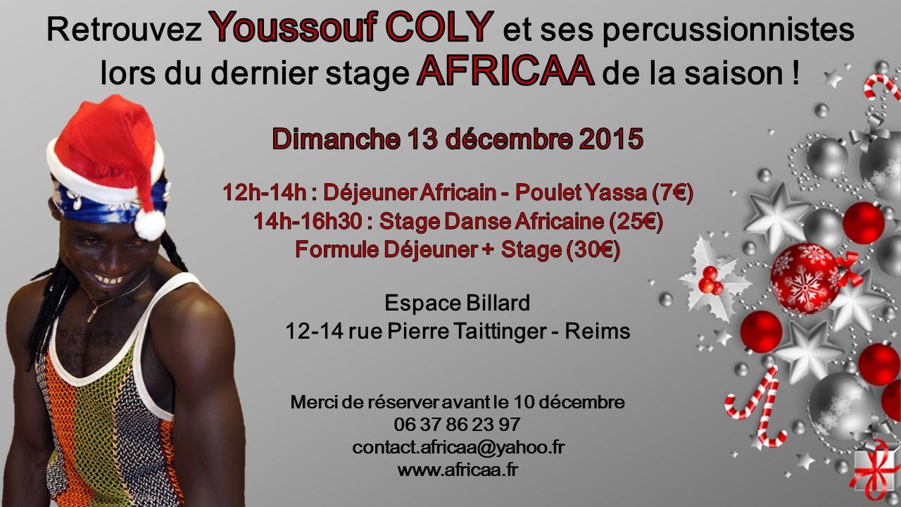 Prochain Stage de Danse Africaine le 13 Décembre à Billard